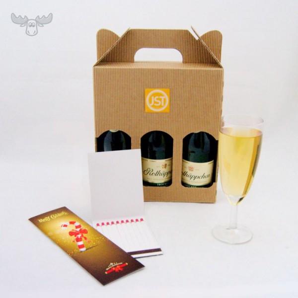 Piccolo Geschenkset mit Logoaufkleber und Wunderkerzen und Zündhölzer mit Motiv Zuckerstange