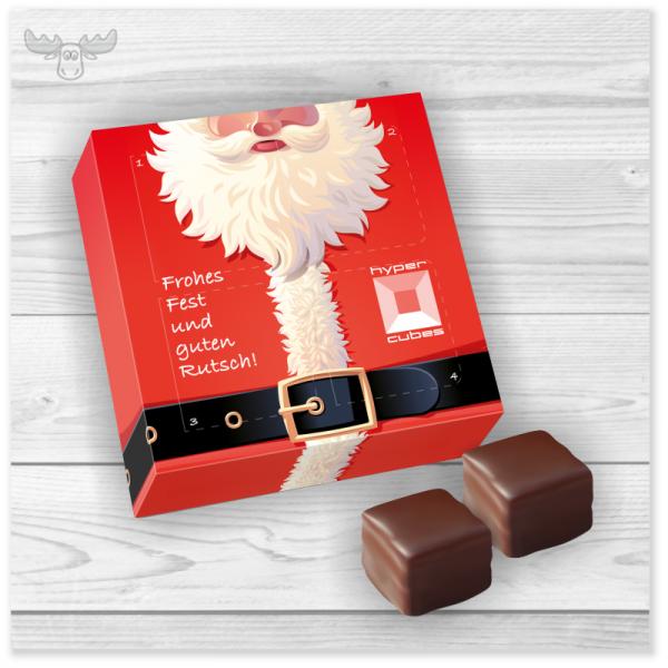 Edler Adventskalender mit 4 Süßigkeiten in Holzschatulle
