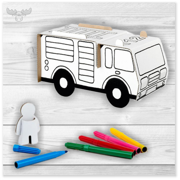 Bastelset Pappe für Kinder - Spielzeug aus Pappe basteln Feuerwehr
