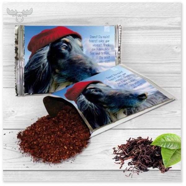 Tee-Karte mit Motiv Hund mit Wollmütze