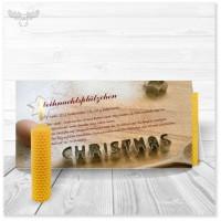 Weihnachtskarte mit Plätzchenrezept und Bienenwachskerze zum Selberdrehen