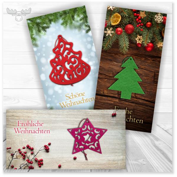 Weihnachtskarte mit Filz-Anhänger für den Weihnachtsbaum