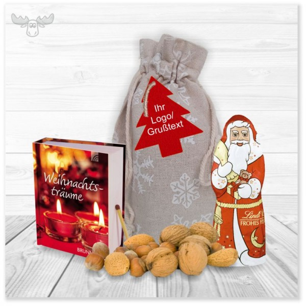 Präsent-Set mit Mini-Weihnachtsbuch, Schoko-Nikolaus und Nüssen im Leinensäckchen mit Filz-Anhänger
