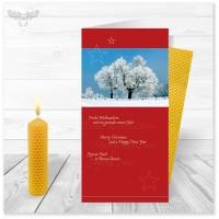 Bienenwachskerze mit Winter-Weihnachtskarte