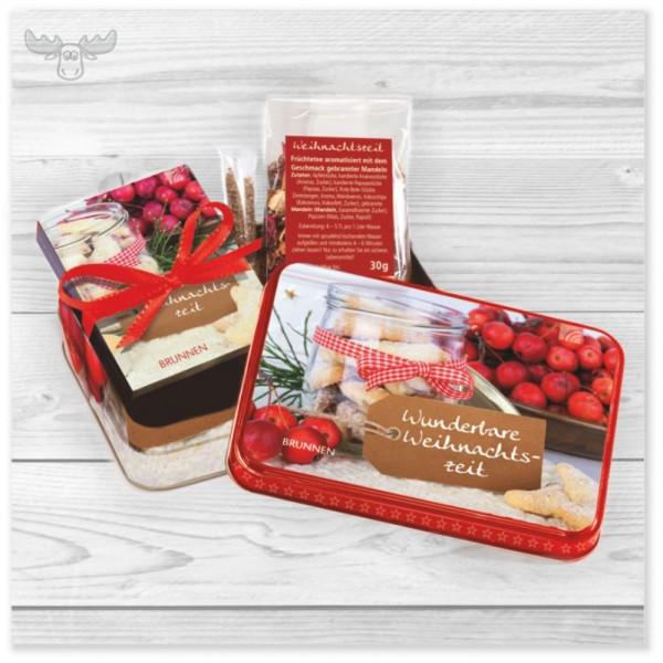 Präsentset mit Teedose und Mini-Weihnachtsbuch