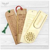 Lesezeichen aus Holz - speziell in Ihrem Firmen-Design (Beispiele)