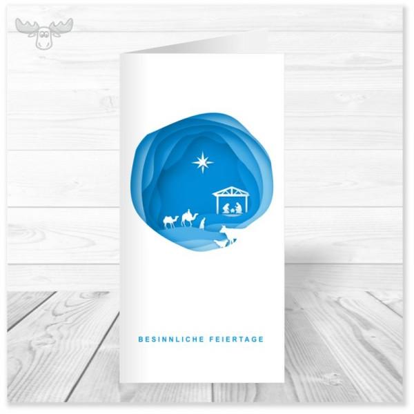 Christliche Weihnachtskarten mit Krippe & Stern